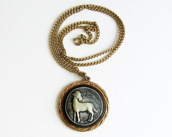 Vintage Gold Aries Ram Cameo Necklace with Black & White Resin