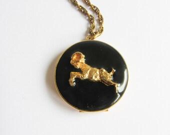 Vintage Ram Locket Necklace / Black Gold Ram Necklace / Large Locket Necklace