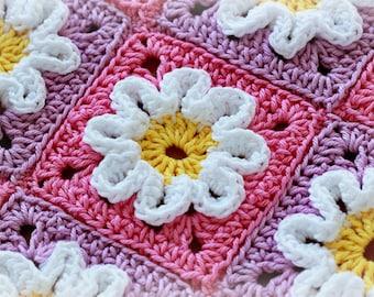 Crochet Pattern - Crochet 3D Flower Baby Blanket (Pattern No. 003) - INSTANT DIGITAL DOWNLOAD