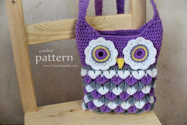 Crochet Pattern Crochet Owl Purse With Feathers Pattern No Etsy