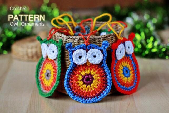 Crochet Pattern Crochet Owl Ornaments Pattern No 012 Etsy