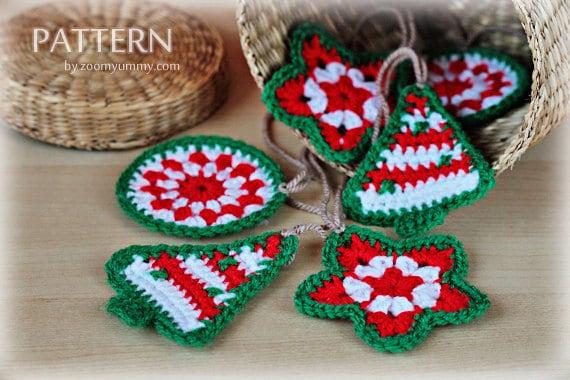 Crochet Christmas Ornaments.Crochet Pattern Crochet Christmas Ornaments Pattern No 021 Instant Digital Download