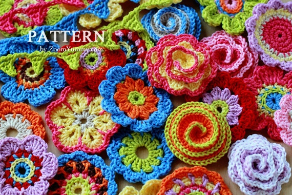Crochet Patterns Big Flower Party Pattern No 001 Etsy