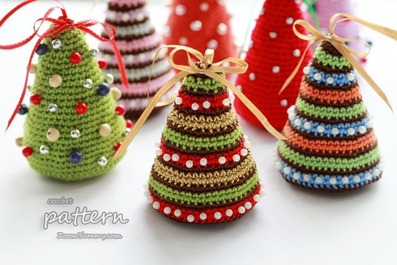 Crochet Pattern  Little Colorful Christmas Trees Pattern