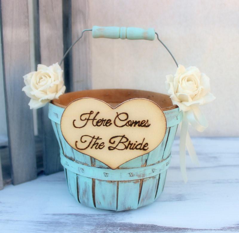 Flower Girl Baskets For Weddings: Flower Girl Basket Paper Roses Rustic Shabby Chic Wedding