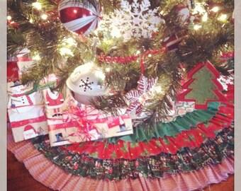 Scrappy Ruffled Christmas Tree Skirt
