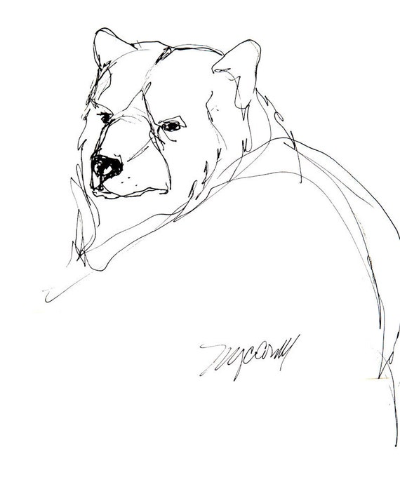 Black Bear Drawing Blank Greeting Card From Reproduction Of Etsy