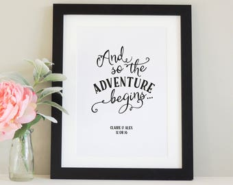 Personalised 'And So The Adventure Begins' print
