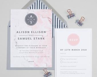 Grey and pink Marble monogram wedding invitations