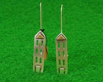 Sterling silver Corfiot house earrings