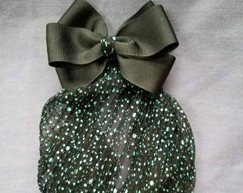 Black Grosgrain Hair Bow with Long Turquoise Glitter Snood