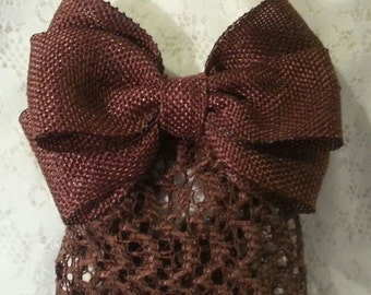 Brown Textured Woven Ribbon Bow with Net Snood