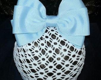 Powder Blue Grosgrain Bow with Net Snood