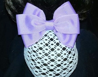 Orchid Grosgrain Bow with Net Snood