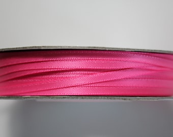 "1/8"" Double-Faced Satin Ribbon - Shocking Pink - 100 Yard Spool Satin Ribbon"