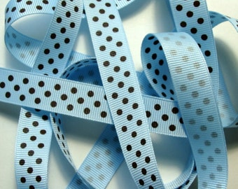 """5/8"""" Dotted Grosgrain Ribbon - Light Blue with Brown Dots - 5 yards"""