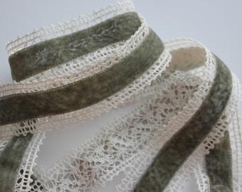 """1 1/2"""" Wide Crochet Edge Velvet Ribbon - By the Yard - Gray & Ivory"""