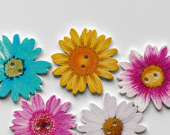 Daisy Buttons - Wood - 10 Count - Flower Buttons Available in 2 sizes