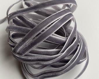 """1/4"""" Velvet Ribbon - Dark Gray - 5 yards"""