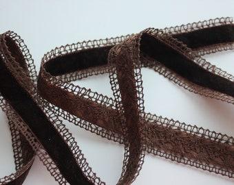 """1 1/2"""" Wide Crochet Edge Velvet Ribbon - By the Yard - Brown"""