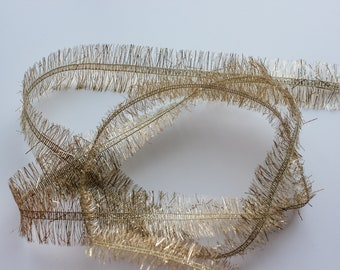 Tinsel Trim - Gold Eyelash Trim - Christmas Craft Trim - Long Tinsel Cord - 10 Yard Spool