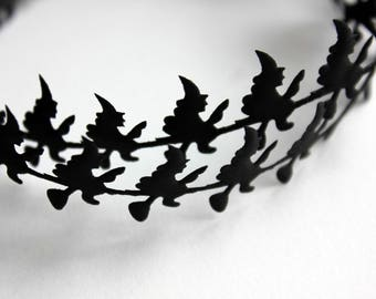 Black Witch Satin Cutouts - Witch Garland - Halloween Ribbon - Halloween Trims - Witch Ribbon