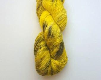 Hand Dyed Speckled Sock Yarn [Nocturnal Sock] [Wasp Woman] Yellow Speckled Hand Dyed Sock Yarn I Speckled Sock Yarn