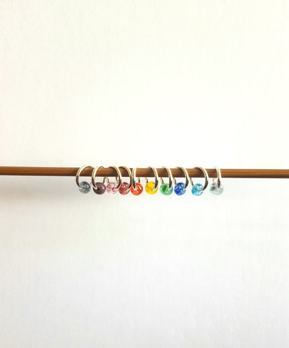 Snag Free Stitch Markers set for Knitting with Scissor Fob Rainbow dragonflies Progress Keepers Progress Markers for knitting