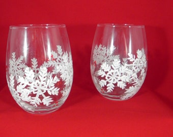 Stemless Snowflake Wine Glasses