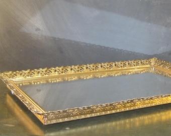 Vintage Filigree Dresser Mirror Tray