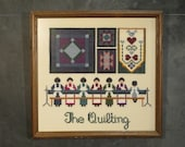 Vintage Quilting Bee Cross Stitch Wall Hanging