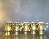 Set of Five Vintage Brass Mugs