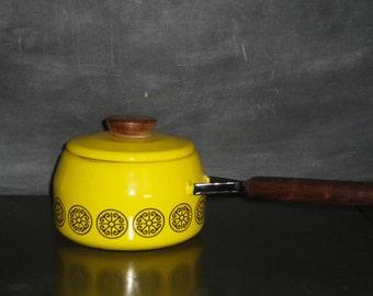 Mid Century Modern Enamelware Lidded Sauce Pot Pan-Fissler Asta Designer Cookware-Yellow Black