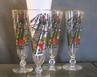 Set of Four Vintage Libbey Glass Treasure Island Pilsner Glasses