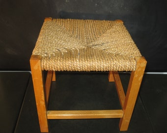 Vintage Rush Rope Stool-Woven Seat Stool-Plant Stand