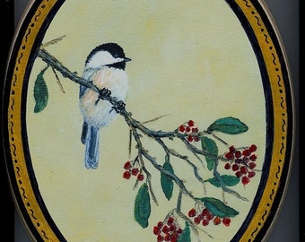 Oval Wood Plaque with Chickadee on Red Berry Branch, Bird 1