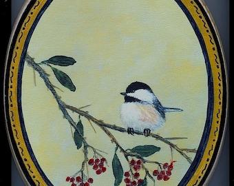 Oval Wood Chickadee Plaque - Chickadee on Red Berry Branch - Bird 2