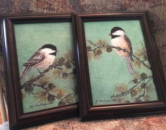 original framed oval oil bird painting by K McDermott chickadee oval Bird 2 of set Chickadee # 32 bird art original oil painting