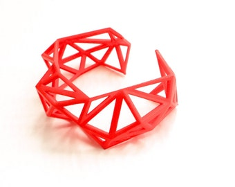3d printed Triangulated Cuff bracelet in Coral Red. modern statement jewelry. geometric jewelry