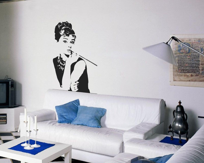 Audrey Hepburn Wall Decal Breakfast At Tiffanys Inspired Etsy