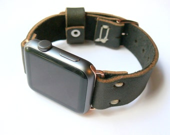 Apple Leather Band, Genuine Leather Band, Handcrafted strap, Handmade gift, Gift for Him, 42mm apple band, series 1 2 3 4 5 6 SE band
