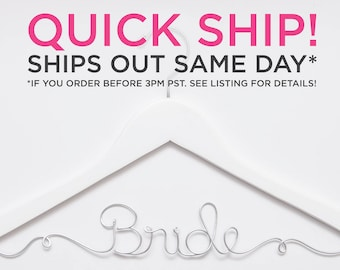 QUICK SHIP / Ships Same Day / Bride Hanger / Wedding Hanger / Personalized Bridal Hanger / Wire Name hanger / Wire Hanger / Name Hanger