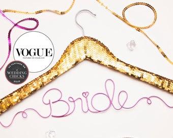 Sequin Wedding Hanger / Personalized Name Hanger / Gold Hanger / Bride Hanger / Wire Hanger / Name Hanger / 3 Hanger Colors / 14 Wire Colors