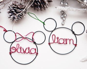 09c2f7dfbb3 Personalized Mickey Mouse Ornament   Personalized Disney Ornament  Minnie  Mouse Ornament  Holiday Decor  Christmas Decor   Disney Lover Gift