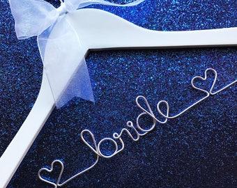 Bride Hanger / Wedding Hanger / Personalized Bridal Hanger / Wire Name hanger / Wire Hanger / Name Hanger / 5 Hanger Colors / 14 Wire Colors