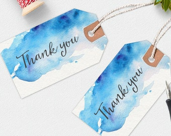 Thank you printable tags, handwritten tags, watercolor thank you tag, favour tags, printable gift tags, thankyou tags, peonies