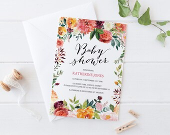 Fall baby shower invitations etsy fall baby shower invitation floral baby shower autumn baby shower invitations instant download template gender neutral filmwisefo