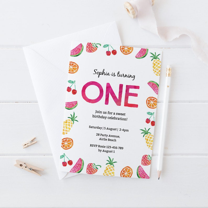 Fruit Birthday Invitation 1st Tropical Kids Summer Printable Pool Party