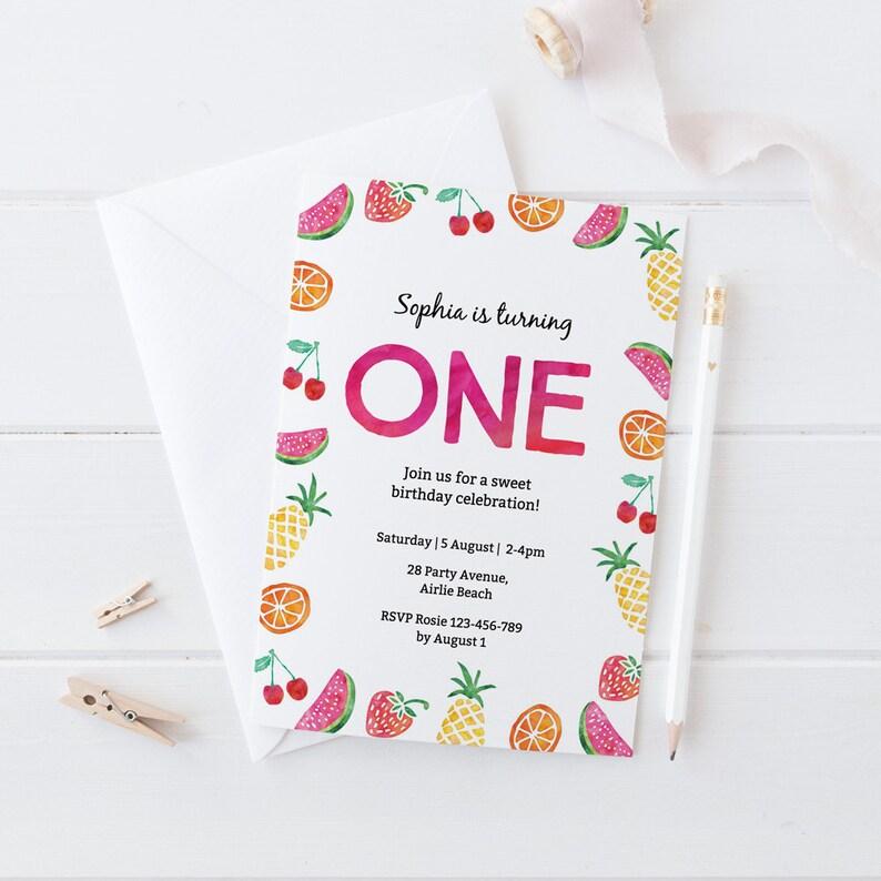 Fruit Birthday Invitation 1st Tropical