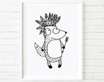 Digital Printable Fox Indian , black and white art, kid's art, nursery art, children's art, illustrated print, illustrated art, whimsical